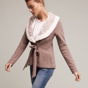 Anthropologie Wool Sweater w/Knit Collar